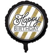 Black & Gold Happy Birthday 18in. Foil Balloon Pk 1