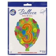 #3 Balloon Shape 18in Foil Balloon Pk 1