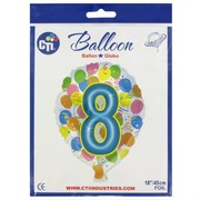 #8 Balloon Shape 18in Foil Balloon Pk 1