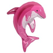 Pink Dolphin on Stick 14in Mini Foil Balloon Pk 1