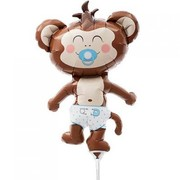 Baby Boy Monkey on Stick 14in Mini Foil Balloon Pk 1