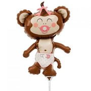 Baby Girl Monkey on Stick 14in Mini Foil Balloon Pk 1