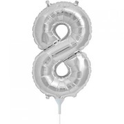 Small Silver Number 8 16in. Foil Balloon Pk 1 (Air Inflation Only / Stick & Cup Not Included)