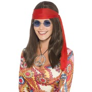 Adult Hippy Chick Kit (Wig, Glasses, Medallion and Headband)