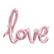 Rose Gold 40in Foil Balloon Love Script Banner Pk 1 (Air Inflation Only)