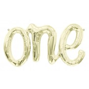 Gold 30in Foil Balloon One Script Banner Pk 1 (Air Inflation Only)
