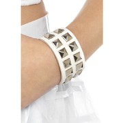 80s White Studded Wrist Band Pk1