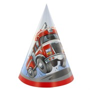Fire Engine Party Hats Pk8