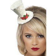 Christmas White Glitter Mini Top Hat on Headband Pk 1