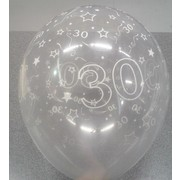 Crystal Clear 30 All Over Print Latex Balloons Pk 10