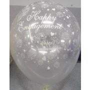 Crystal Clear Happy Engagement Latex Balloons Pk 50