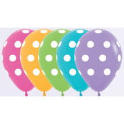 12cm Latex Balloons White Polka Dots Assorted Colours Pk10