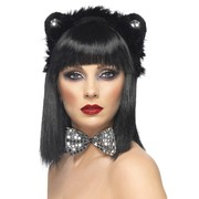 Cat Costume Set - Fluffy Ears and Silver Sequin Bow-Tie Pk 1