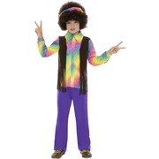 Child Hippy Costume Large 10-12 Yrs Pk 1 (Top, Pants and Headband Only)