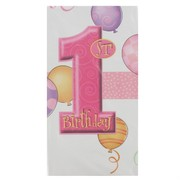 1st Birthday Party Tablecover - Pink Balloons Pk1