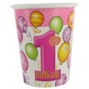 1st Birthday Party Cups - 9oz Balloons Pink Pk8