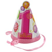 1st Birthday Party Hats - Balloons Pink Pk8