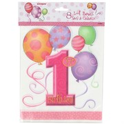 Loot Bags 1st Birthday Balloons Pink Pk8
