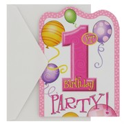 Invitations 1st Birthday Balloons Pink Pk8