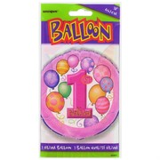 Balloon Foil 18in 1st Birthday Balloons Pink Pk1