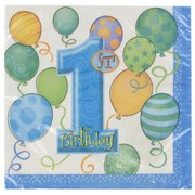 1st Birthday Party Napkins - Lunch Blue Balloons Pk16