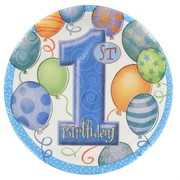 Blue 1st Birthday Party Plates - Small 17cm Balloons Pk8