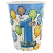 1st Birthday Party Cups - 9oz Balloons Blue Pk8