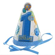 1st Birthday Party Hats - Balloons Blue Pk8