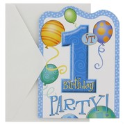 Invitations 1st Birthday Balloons Blue Pk8