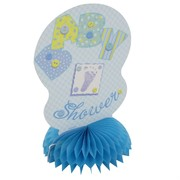 Baby Shower Honeycomb Centrepiece - Blue Stitching Pk4