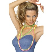 80's Fluoro Bead Necklaces Pk 4