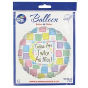 Baby Shower Twins 18in Foil Balloon - Twice As Nice Quilt Pk1