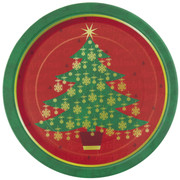 7in Golden Christmas Tree Paper Plates Pk8