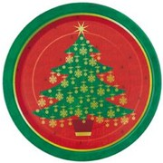 Golden Christmas Tree 9in Paper Plates Pk8
