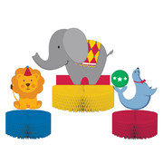 Circus Time Honeycomb Centrepiece Pk 3 (Assorted Designs)