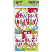Birthday Jamboree Party Pack For 8 Pk 1 (8 Cups, 8 Plates, 8 Napkins & 1 Tablecover)