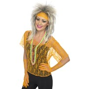80's Orange Lace Costume Set - Top, Headband & Gloves