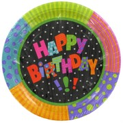 Happy Birthday Party Plates - Large 23cm Infinite Pk8
