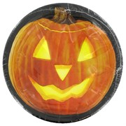 Halloween Party Plates - Small 17cm Pumpkin Glow Pk8