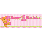 Bears 1st Birthday Girl Giant Party Banner (152 x 50.8cm) Pk 1