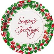 Christmas Holly Garland 7in Paper Plates Pk8