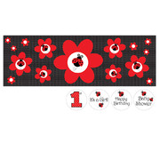 Ladybug Fancy Giant Party Banner with Stickers (152 x 50.8cm) Pk 1