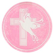 Pink Dove & Cross Plates (7in) Pk 8