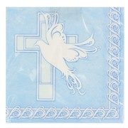 Blue Christening Lunch Napkins  - Dove Cross Pk 16