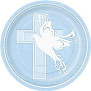 Christening Plates (7in.) - Dove Cross Blue Pk 8