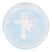 Blue Christening Plates - Large Dove Cross Pk 8