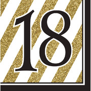 Black & Gold '18' 3 Ply Lunch Napkins Pk 16