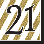 Black & Gold '21' 3 Ply Lunch Napkins Pk 16
