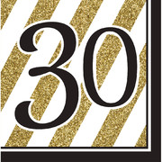 Black & Gold '30' 3 Ply Lunch Napkins Pk 16
