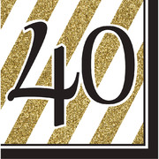 Black & Gold '40' 3 Ply Lunch Napkins Pk 16